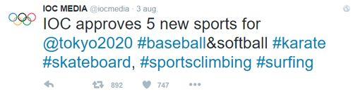 Tweet toevoeging sporten Olympische Spelen