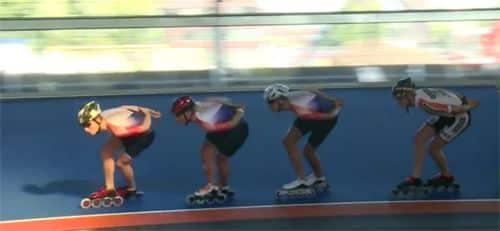 Skeeleraars in kombocht skeelerbaan Heerenveen
