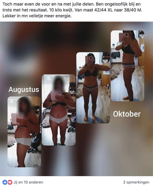 Voor en na Keto dieet